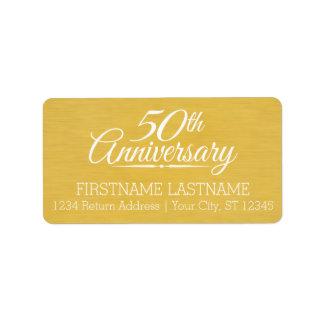 50.o De oro personalizada del aniversario de boda Etiqueta De Dirección