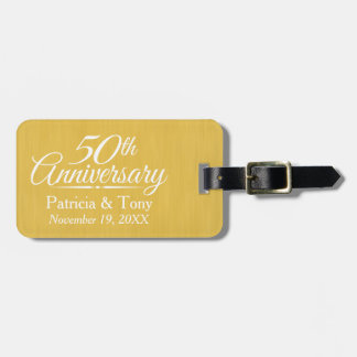50.o De oro personalizada del aniversario de boda Etiqueta Para Maleta