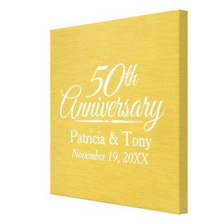 50.o De oro personalizada del aniversario de boda Impresión En Lienzo