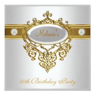 50.o Diamante elegante 3 del oro blanco del cordón Invitacion Personalizada