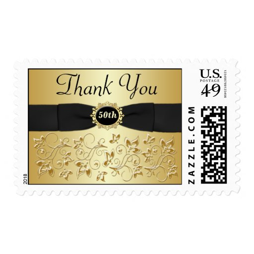 50.o El aniversario le agradece oro, franqueo Sellos