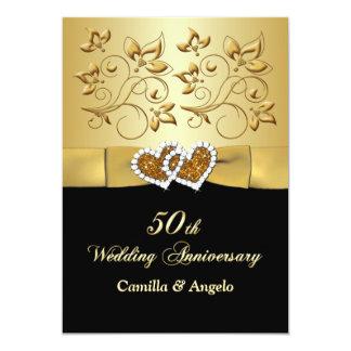 50.o El casarse unido aniversario de los corazones Invitación