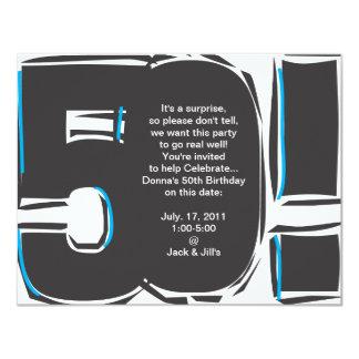 """50.o El cumpleaños invita Invitación 4.25"""" X 5.5"""""""