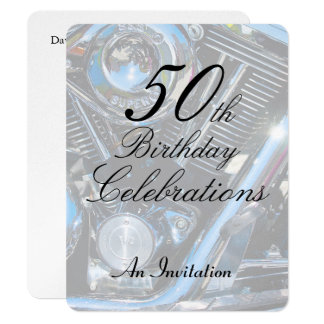 """50.o El cumpleaños metálico invita Invitación 4.25"""" X 5.5"""""""