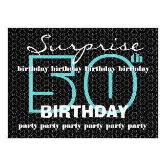 50 o El negro azul de la fiesta de cumpleaños de l Invitaciones Personalizada