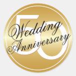 50.o El oro del aniversario de boda entonó al pega Etiqueta Redonda