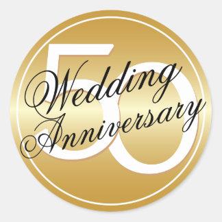50.o El oro del aniversario de boda entonó al Pegatina Redonda