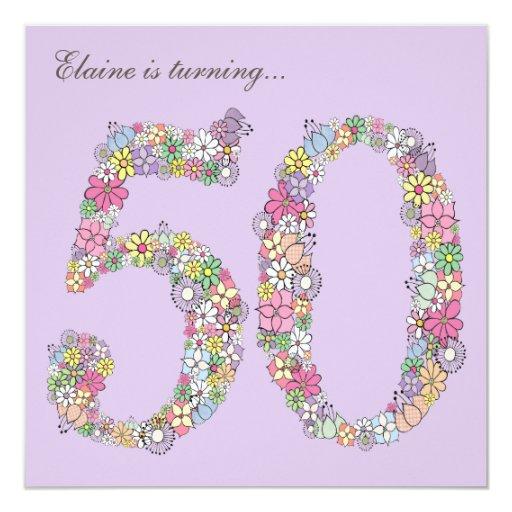 """50.o El personalizado de las floraciones de la Invitación 5.25"""" X 5.25"""""""