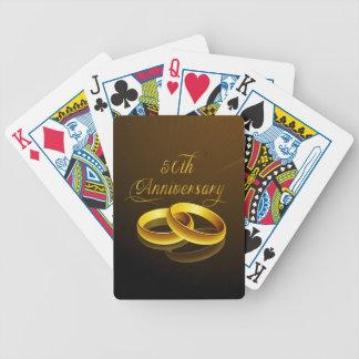 50.o Escritura del oro del aniversario el | Baraja Cartas De Poker