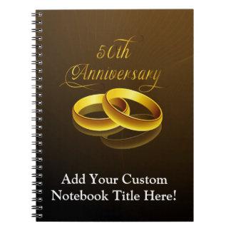 50.o Escritura del oro del aniversario el | Libros De Apuntes Con Espiral