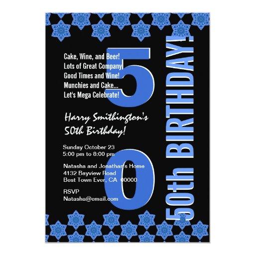 """50.o Estrellas azules G433 del cumpleaños moderno Invitación 5"""" X 7"""""""