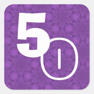 50.o Estrellas de la púrpura del cumpleaños Calcomanía Cuadradas Personalizadas