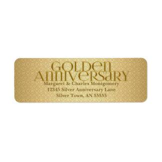 50.o Etiqueta de oro de Avery del aniversario Etiqueta De Remitente