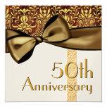 50.o Falso lazo de satén del aniversario y Invitación 13,3 Cm X 13,3cm