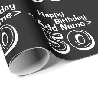 50.o feliz cumpleaños negro personalizado papel de regalo