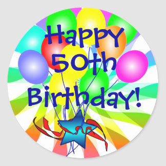 ¿50.o feliz o? Pegatinas festivos del cumpleaños Etiqueta Redonda