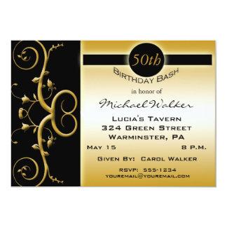 """50.o Fiesta de cumpleaños en negro elegante y oro Invitación 5"""" X 7"""""""
