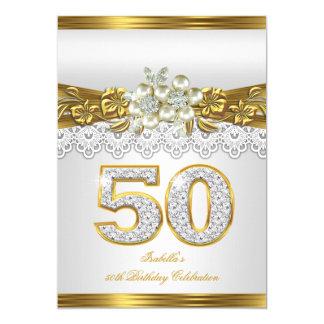"""50.o Fiesta de cumpleaños floral de la perla del Invitación 5"""" X 7"""""""