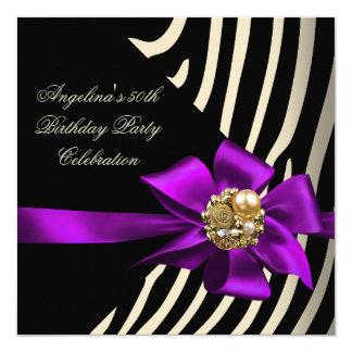 """50.o Fiesta de cumpleaños púrpura del negro de la Invitación 5.25"""" X 5.25"""""""