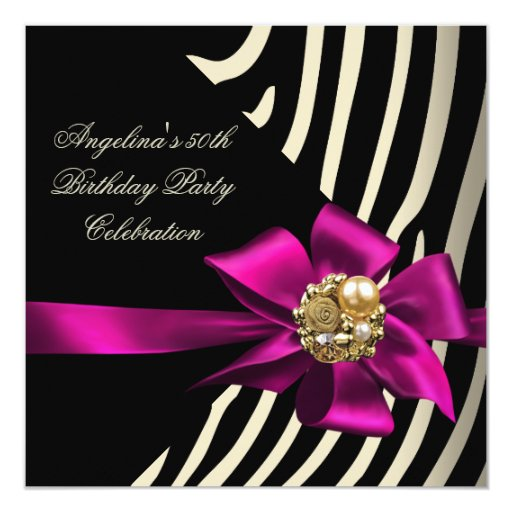 50.o Fiesta de cumpleaños rosada del negro de la Invitación 13,3 Cm X 13,3cm