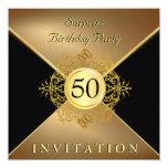 50.o fiesta de sorpresa del cumpleaños del negro invitación 13,3 cm x 13,3cm