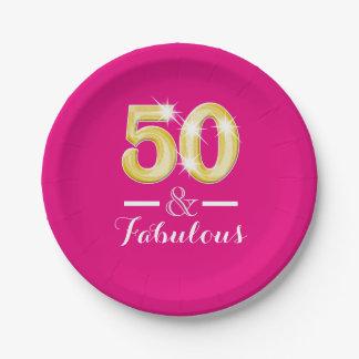 50.o fiesta del jalón del cumpleaños cincuenta plato de papel de 7 pulgadas