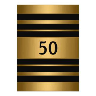 50.o Fiesta masculino del oro del negro de bronce Invitación Personalizada