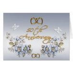 50.o Floral azul elegante de la fiesta de aniversa Felicitación