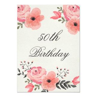 50.o Flores elegantes de la acuarela del Invitación 12,7 X 17,8 Cm