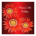 50.o Flores rojas elegantes del cumpleaños Invitación 13,3 Cm X 13,3cm