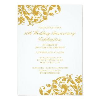 50.o Flourish del remolino del oro del aniversario Invitación 12,7 X 17,8 Cm