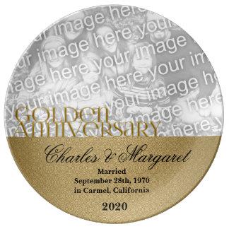 50.o Foto del aniversario de boda de oro Platos De Cerámica