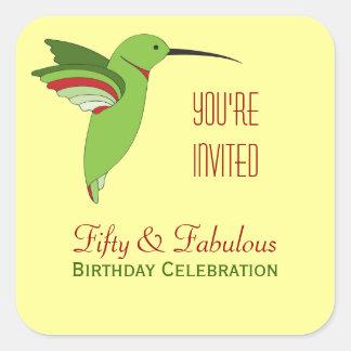 50.o franqueo del cumpleaños de los colibríes pegatina cuadrada