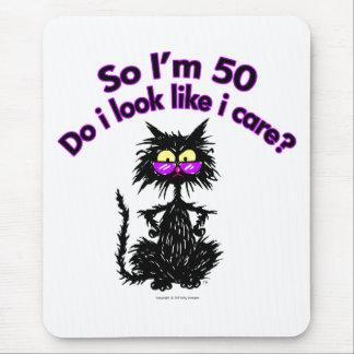 50.o Gato del cumpleaños Alfombrillas De Ratones