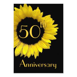 """50.o Girasol del oro del aniversario Invitación 5"""" X 7"""""""