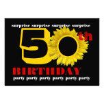 50.o Girasol negro rojo del oro del cumpleaños de  Invitacion Personalizada