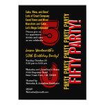 50.o Grunge rojo del negro del oro del cumpleaños Invitación