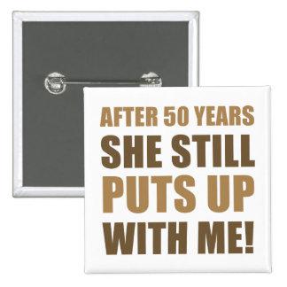50.o Humor del aniversario para los hombres Pin Cuadrado
