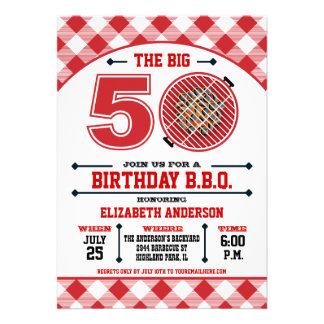 50.o Invitación de la barbacoa del cumpleaños