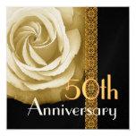 50.o Invitación del aniversario - ORO subió Invitación 13,3 Cm X 13,3cm