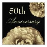 50.o Invitación del aniversario - rosas del ORO Invitación 13,3 Cm X 13,3cm