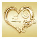 50.o Invitación del corazón del oro del