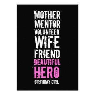 50 o Invitación del cumpleaños - héroe voluntario