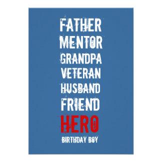 50 o Invitación del fiesta del héroe del cumpleaño