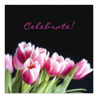 50.o Invitación del tulipán del rosa de la fiesta