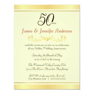 """50.o Invitaciones de la fiesta de aniversario del Invitación 4.25"""" X 5.5"""""""