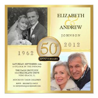 50.o Invitaciones de la foto del aniversario de Invitación 13,3 Cm X 13,3cm