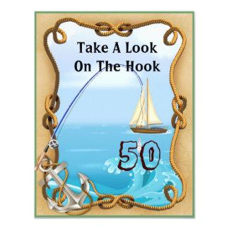 50.o Invitaciones de la pesca del cumpleaños para Invitación 10,8 X 13,9 Cm