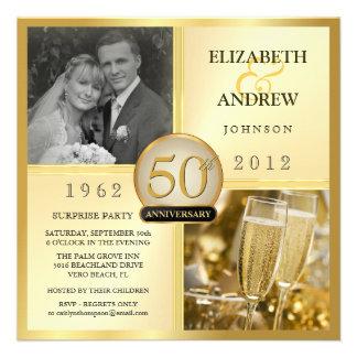 50 o Invitaciones de oro del fiesta de sorpresa de Invitaciones Personales