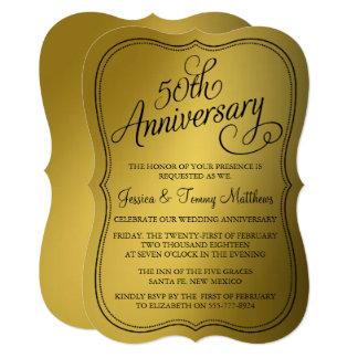 """50.o Invitaciones del aniversario de boda de oro Invitación 5"""" X 7"""""""